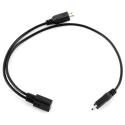 Micro USB 1 į 2 šakotuvas - įkroviklis (juodas)